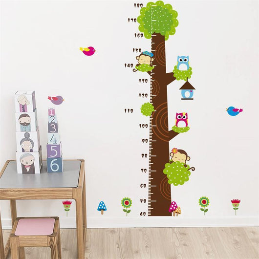 Wall Stickers Height measure tree Cartoon Monkey & Owl Height Measure Wall Stickers