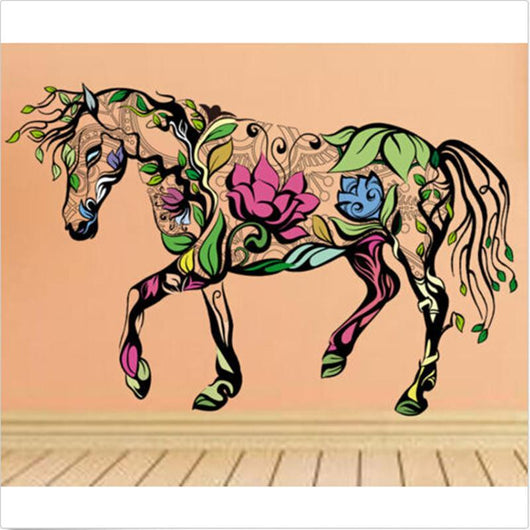 Wall Stickers Multicolor Flower Horse Wall Stickers