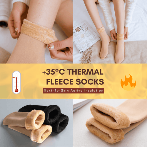 Warm Feet - Thermal Fleece Socks Beige Socks
