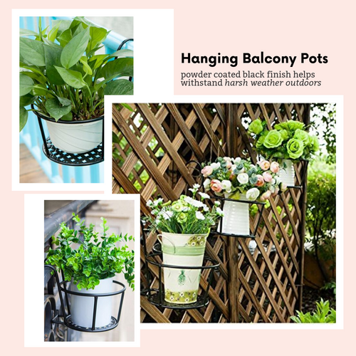 Window Decor Hanging Flower Basket Black Flower Pots & Planters