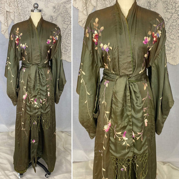 Antique 1900 - 1910's Edwardian Japanese Kimono Robe | Olive Green Tissue Silk with Floral Hand Embroidery & Fringe Sash Tie | Size Free - Daggers & Dames