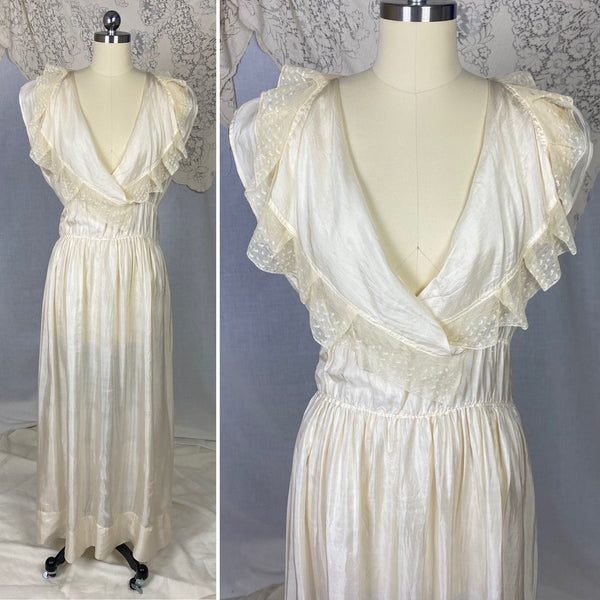 Antique 1910's Edwardian Negligee Nightgown | Ivory Tissue Silk with Ruffled Embroidered Tulle Lace | Size S, M - Daggers & Dames