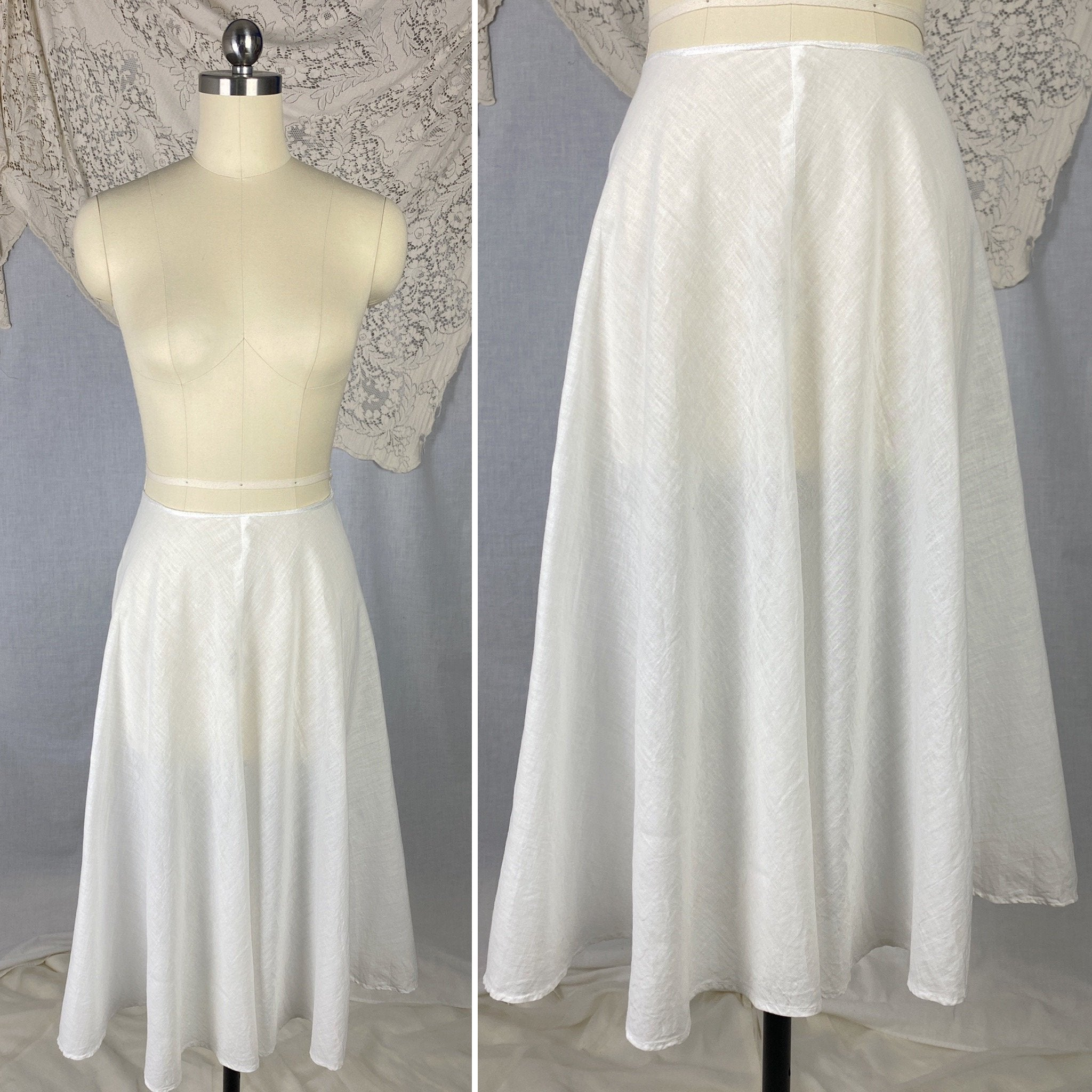 Vintage New Petticoats  White Satin with Lace Petticoats Medium to Large Size