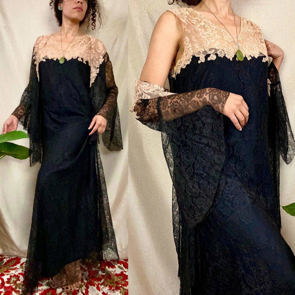 Antique 1920's Dress & Jacket Set | Black Floral Chantilly Lace with Bell Sleeves and Nude Detail | Size M - Daggers & Dames