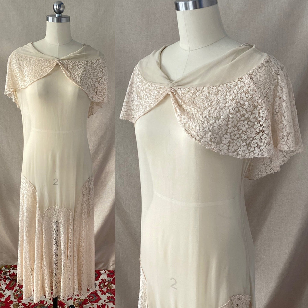 Antique 1920's Dress | Sheer Ivory Silk Chiffon with Floral Chantilly lace Bertha Collar & Skirt | Size 34-36 Bust, XS, S, M - Daggers & Dames