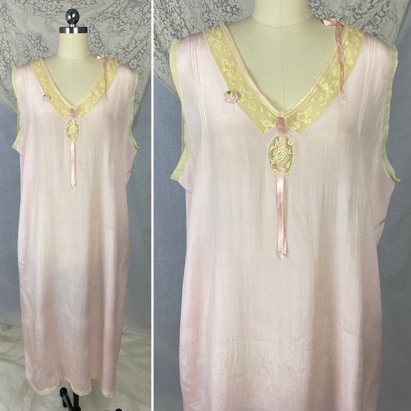 Antique 1920's Nightgown | Sheer Ballet Pink Silk with Ivory Tambour Lace | Size Free, XL | Never Worn - Daggers & Dames