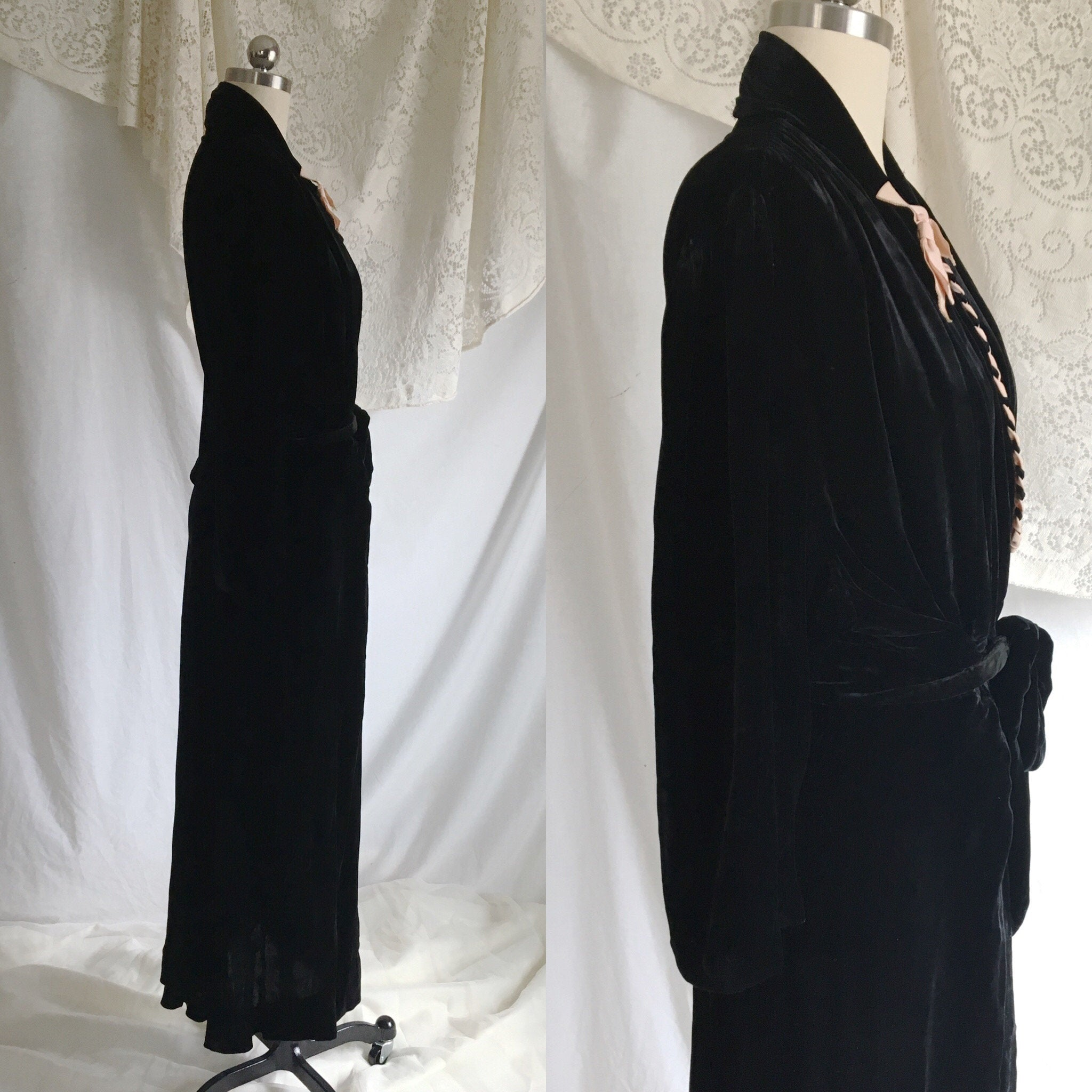 Vintage 1940's Dressing Gown | Black Silk Velvet with Powder Pink Ribbon | Bias Cut Step In Robe | Size S, M, LG