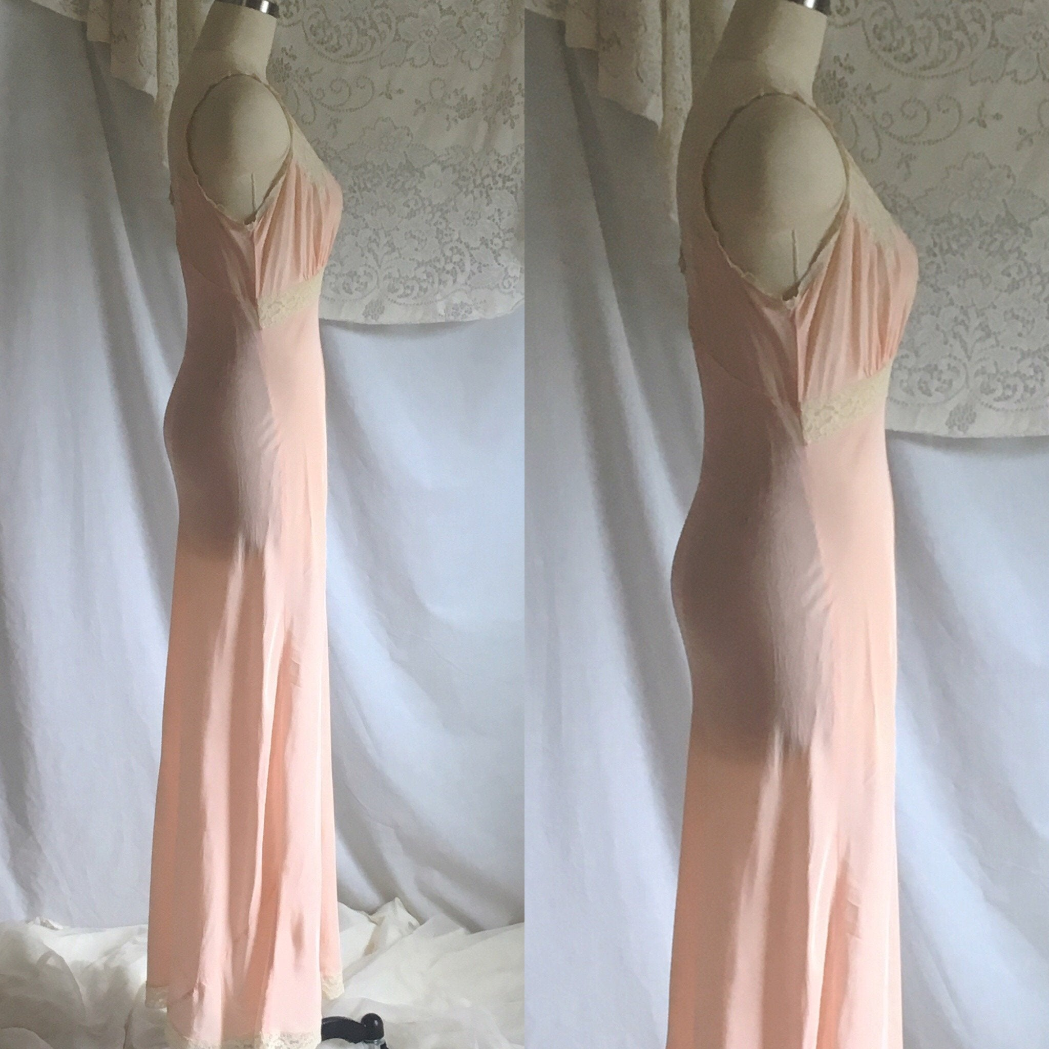 Vintage 1940's Nightgown | Pale Pink Rayon with Lace & Bias Cut | Size S, M