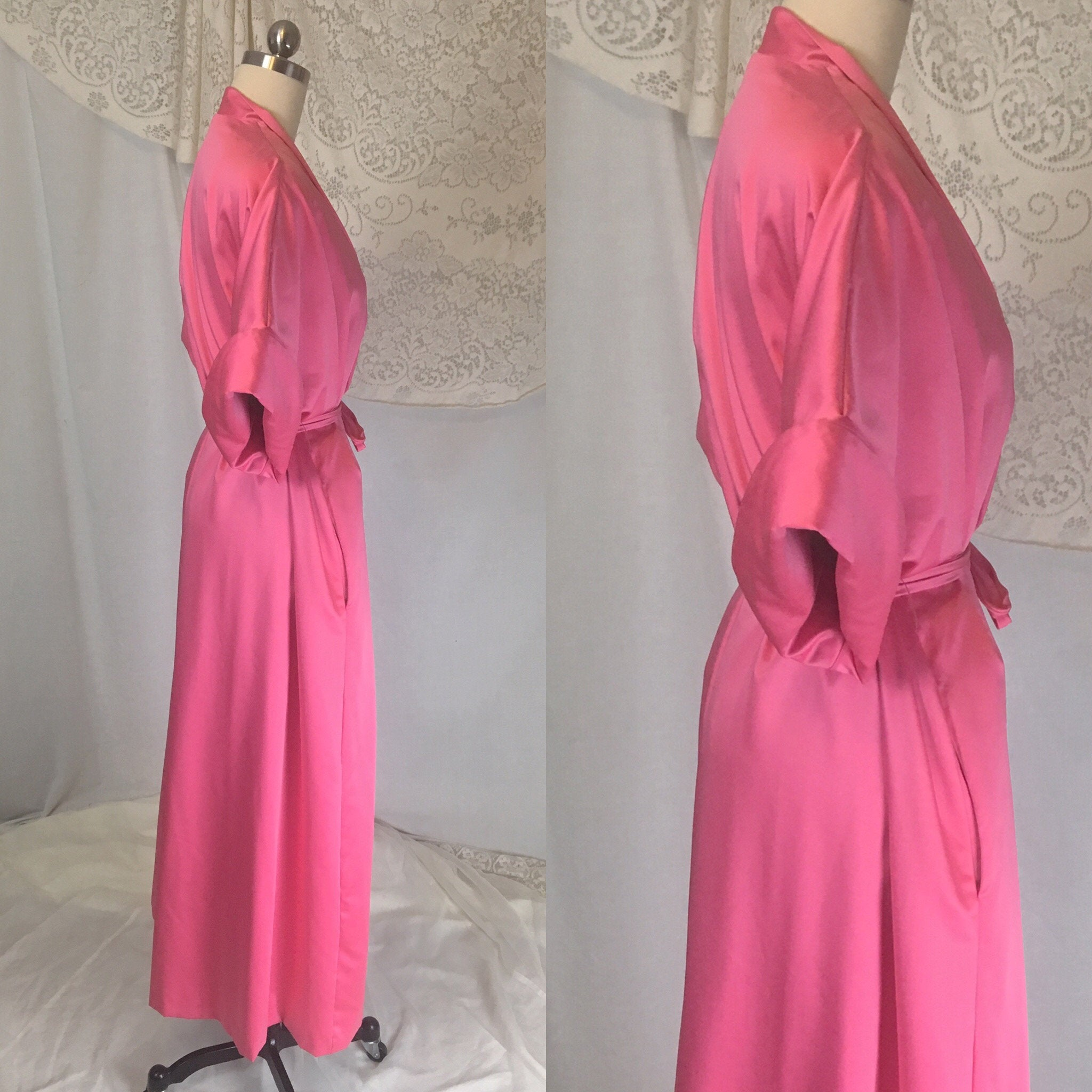 Vintage 1960's Robe | Hot Pink Satin with Lime Green Nylon & Rhinestone Sash | Lucie Ann, Beverly Hills | Size Free
