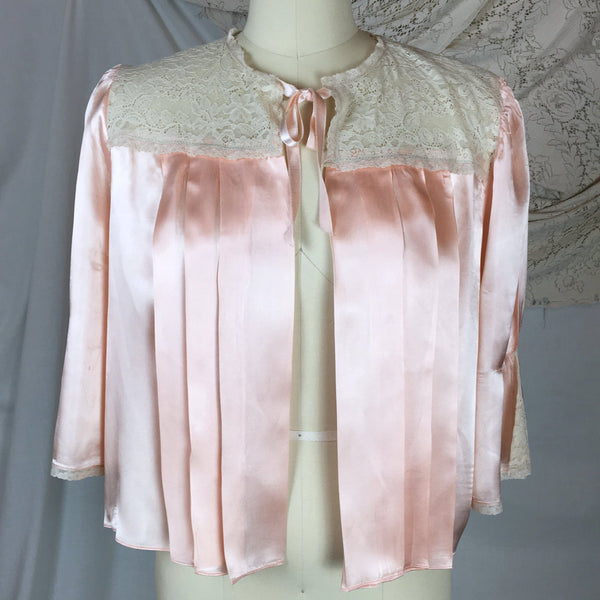 VIntage 1940's Bed Jacket | Rosy Pink Rayon Satin with Lace &  Pleated Bodice | Size SM, MED, LG