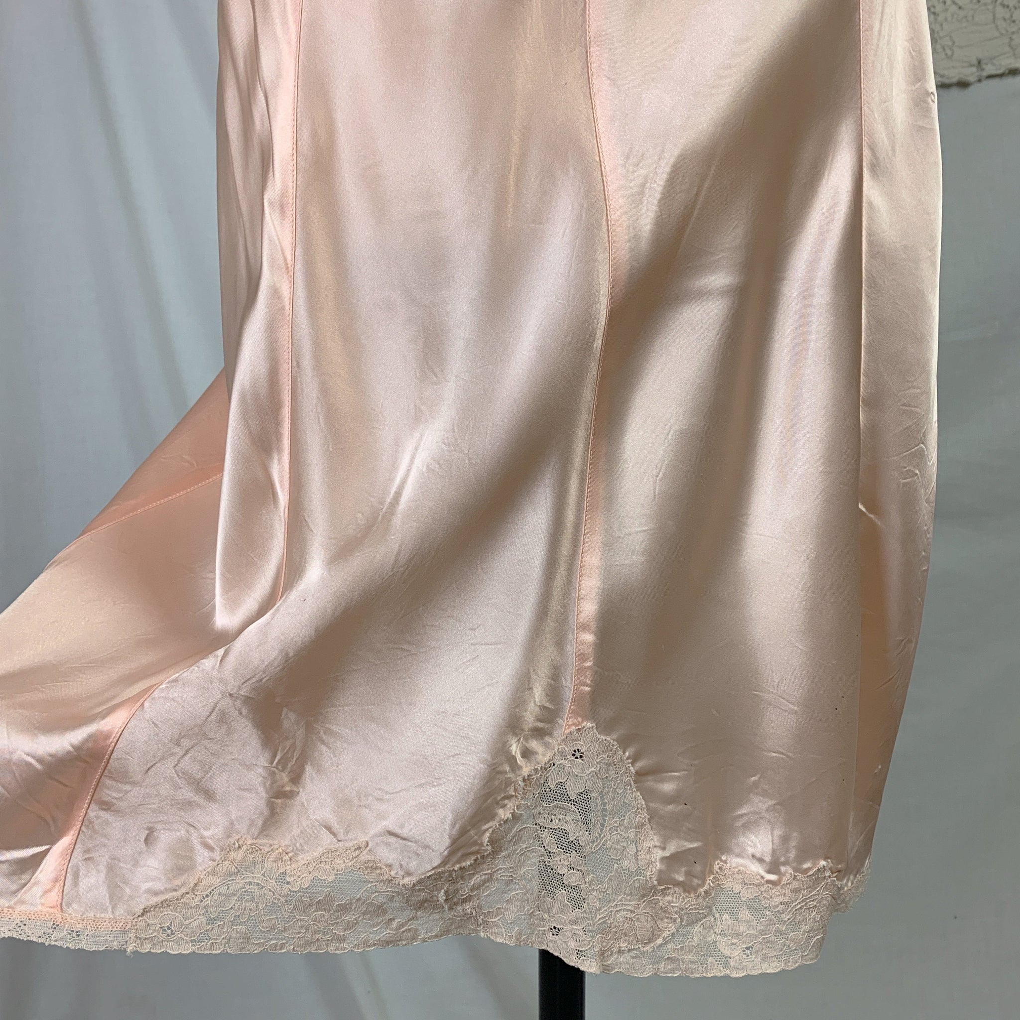 Vintage 1940's Slip | Pale Powder Pink Rayon Satin with Lace & 8 Gores | Lady Love | Size SM, MED