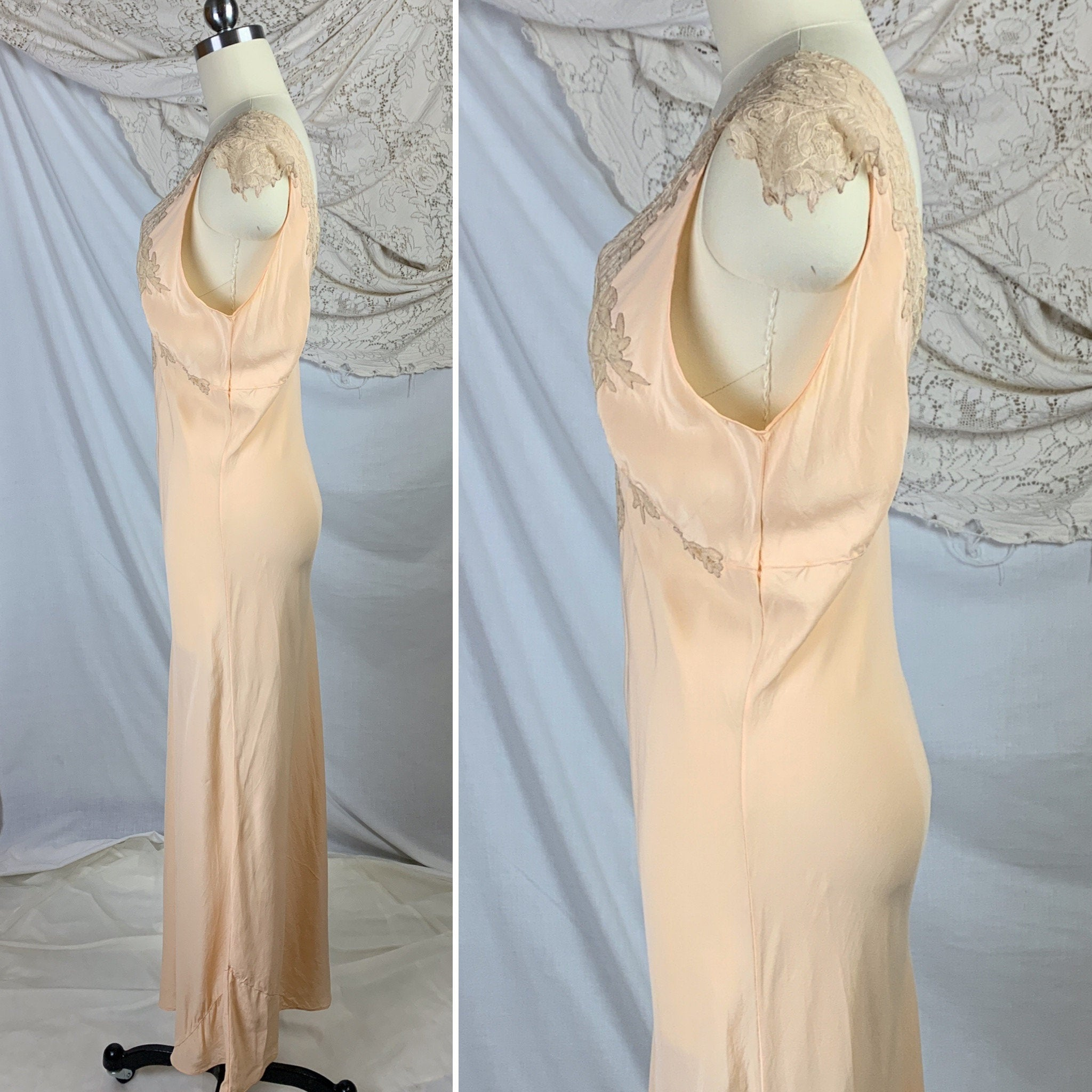 Vintage 1930's Nightgown | Rich Apricot Silk with Taupe Alençon Lace | Size SM, MED