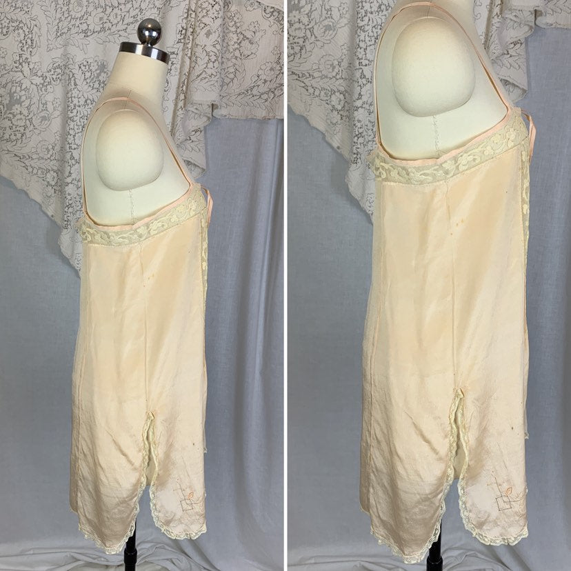 Antique 1920's Chemise | Size SM, MED | Palest Peach Silk Crepe with Tambour Embroidered Lace