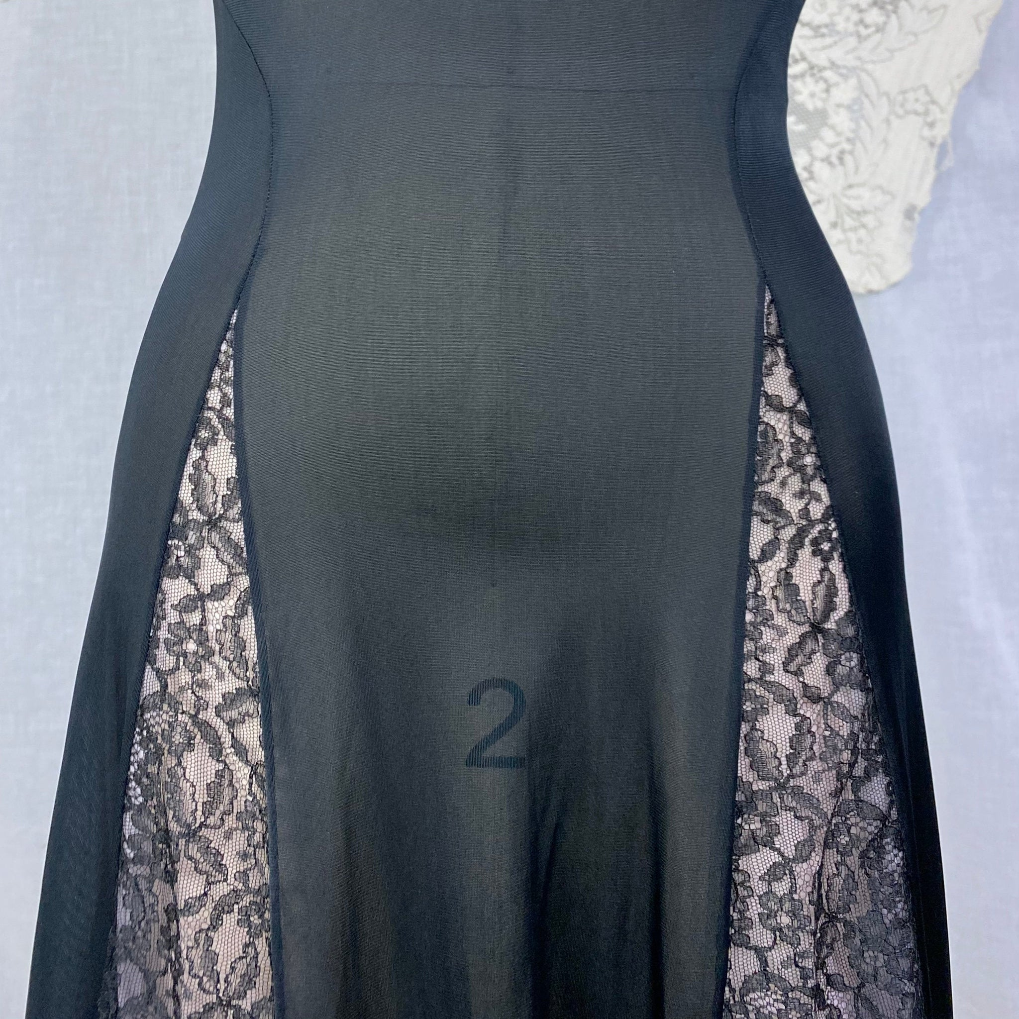 Vintage 1960's Nightgown | Black Nylon with Sheer Lace Illusion Panels over Pink | Size XS, S | Rogers