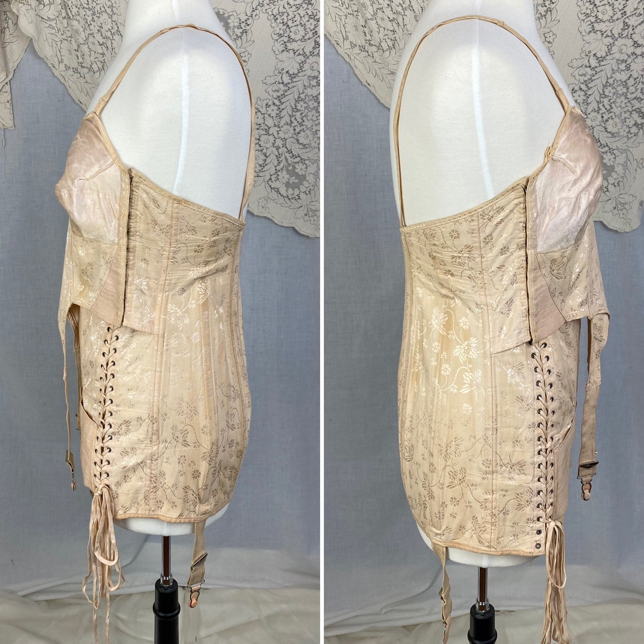 Vintage 1920-1930's All in One Girdle | Nude Rayon Satin Damask with Double Corset Lacing | Size 38-40, LG, XL | Nu-Bone - Daggers & Dames