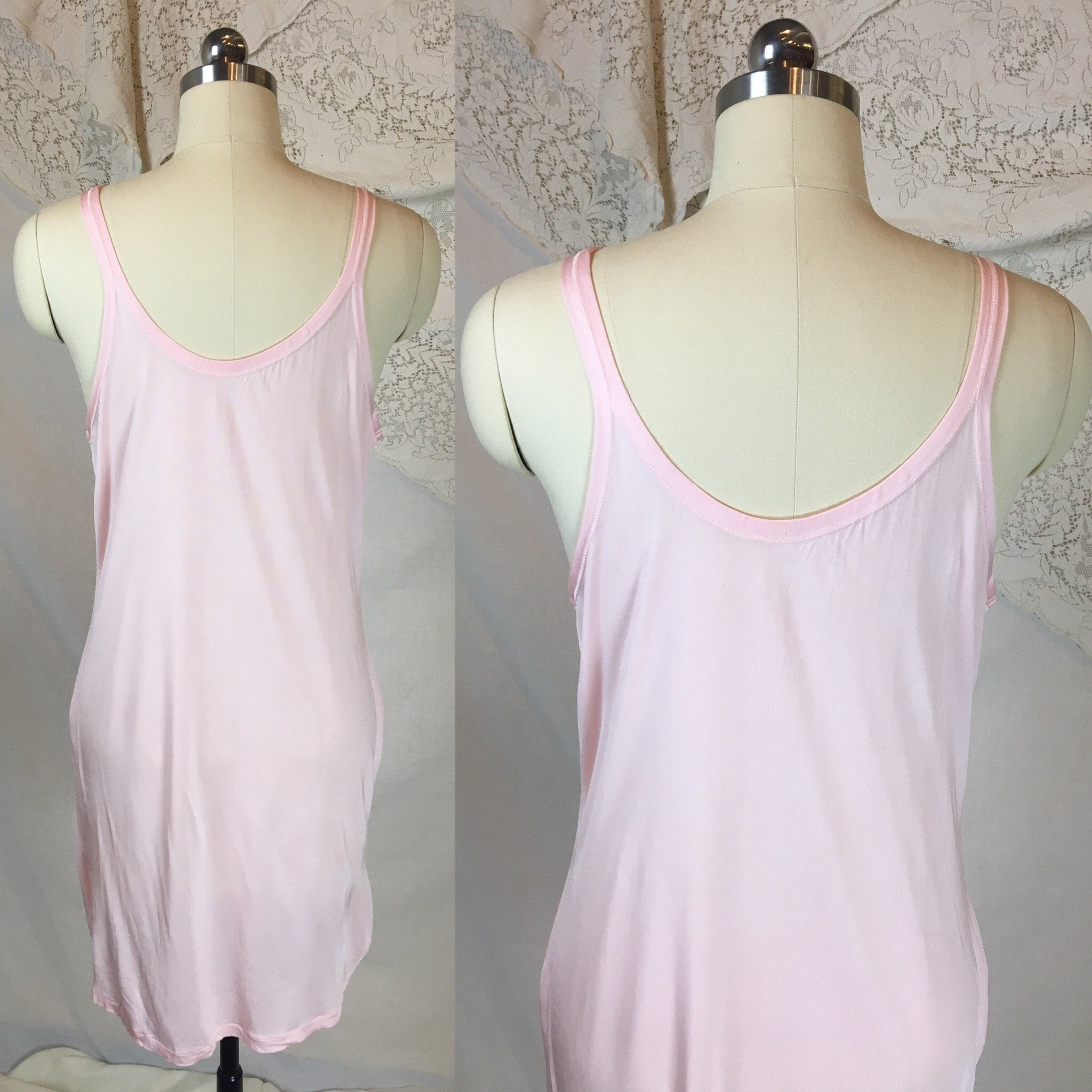 Vintage 1920's Chemise 2 | Size SM, MED | Bubblegum Pink Rayon Knit | The Globe -New with Tags - Daggers & Dames