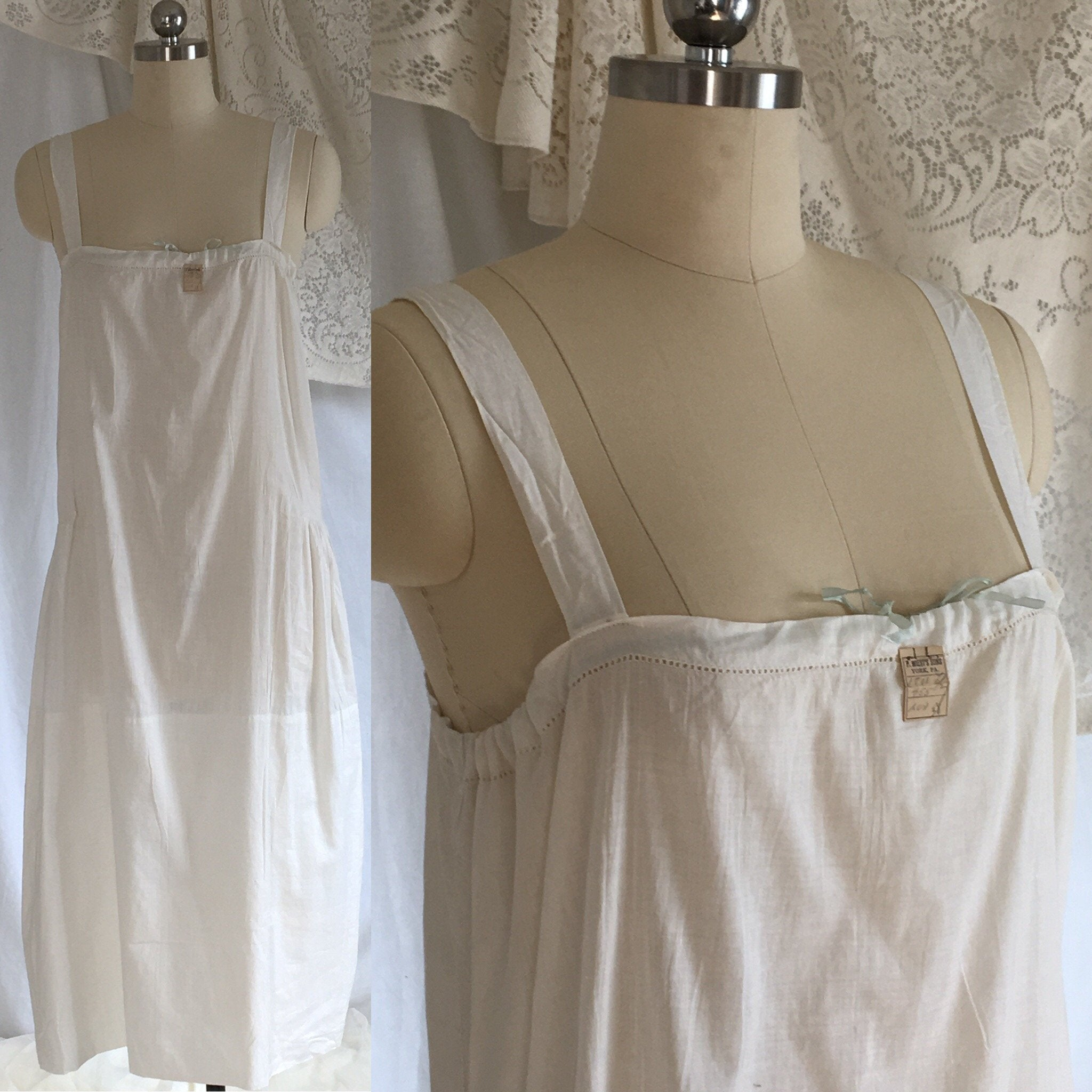 Vintage 1920's Chemise Slip | White Cotton with Ribbon Cinch | New Old Stock | Edwardian Chemise | Slip Dress | Size Free to LG - Daggers & Dames