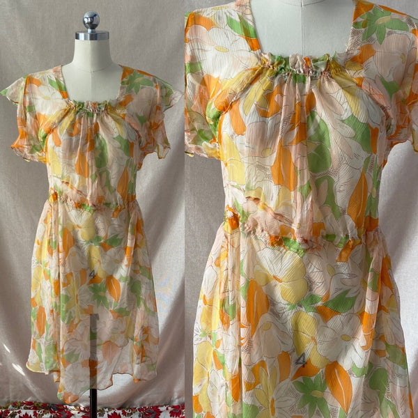 Vintage 1920's Dress | Very Sheer Spring Floral Print Silk Gauze with Bias Cut & Ruffled Sleeves | Size 34-36 Bust, S, M - Daggers & Dames