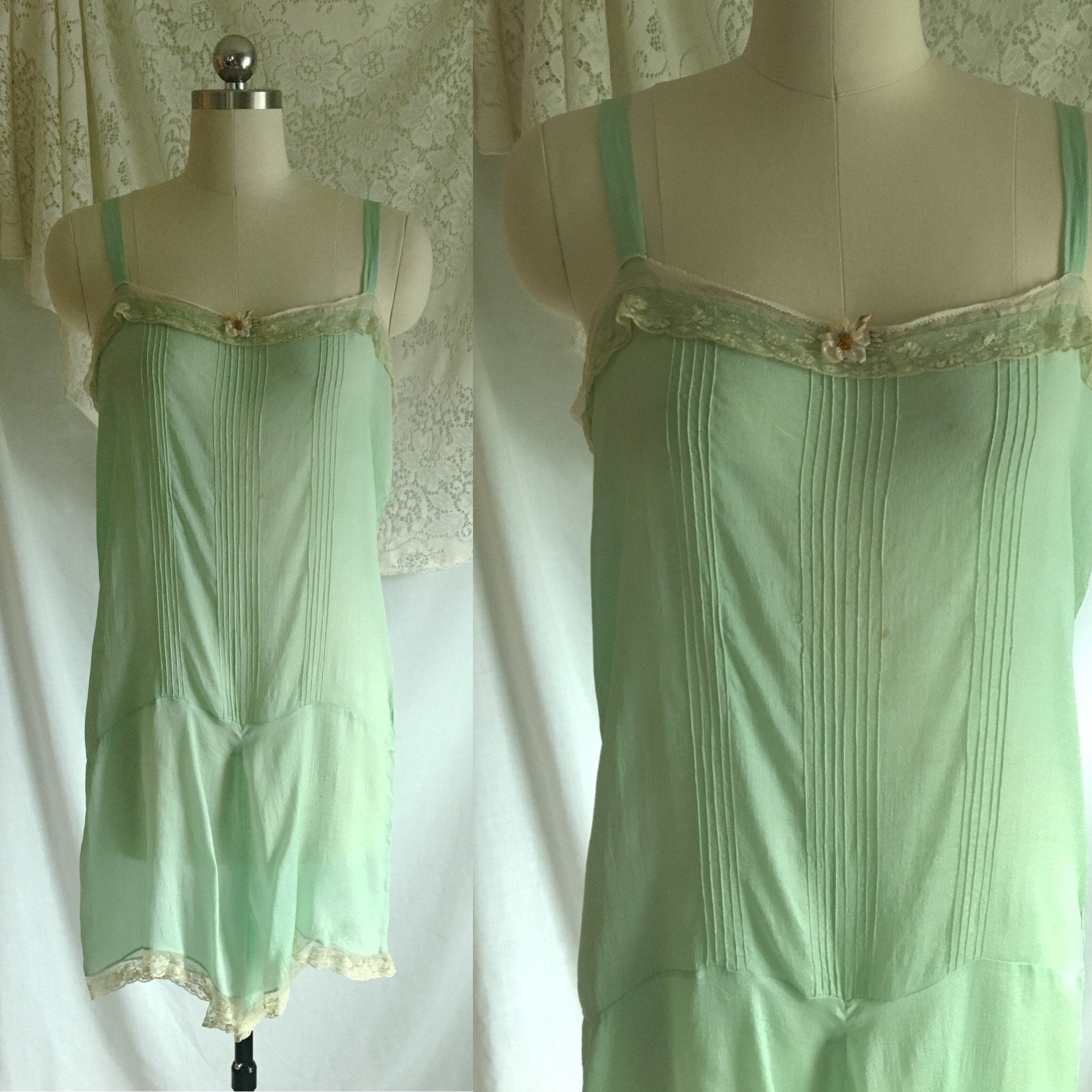 Vintage 1920's Step In Chemise | Sheer Mint Green Silk with Tulle Lace & Rosette | Size S, M - Daggers & Dames