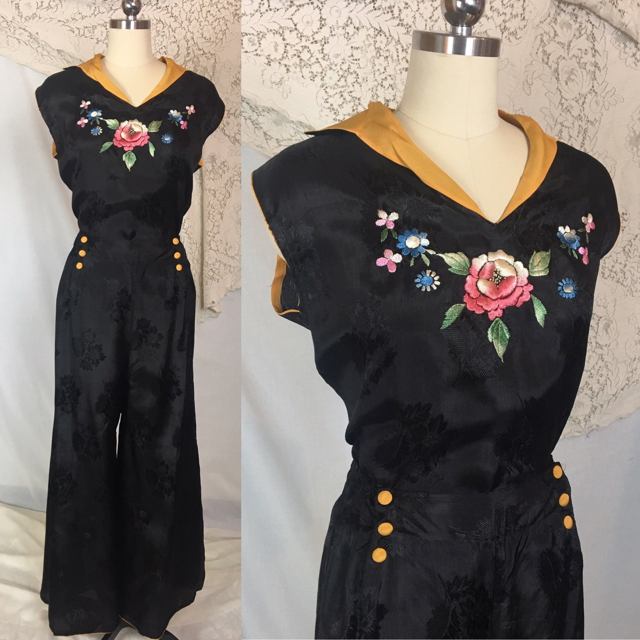 Vintage 1930's Beach Pajama Set | Black Rayon Satin Damask with Floral Embroidery | Made in Japan | Size M, LG, XL - Daggers & Dames