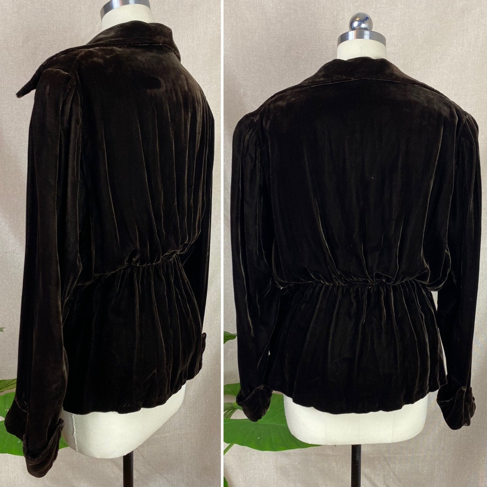 Vintage 1930's Jacket | Deep Mocha Brown Silk Velvet with Bias Cut & Peplum Waist | Size M, LG | Derry's - Daggers & Dames