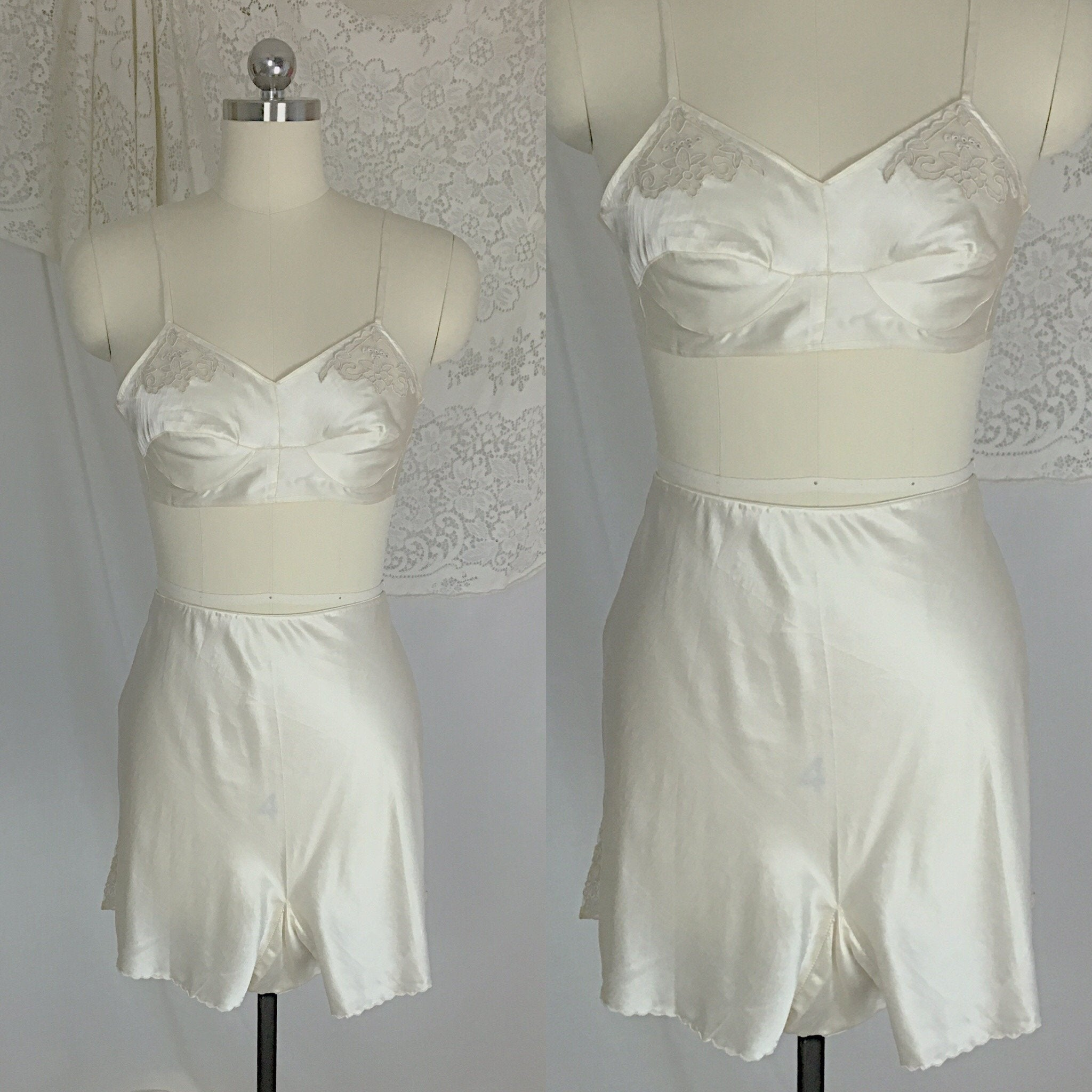 Vintage 1930's Lingerie Set | Ivory Silk with Ecru Embroidered Lace Slip with Bralette & Tap Pants | New in Box - H.C. Capwells | Size M - Daggers & Dames