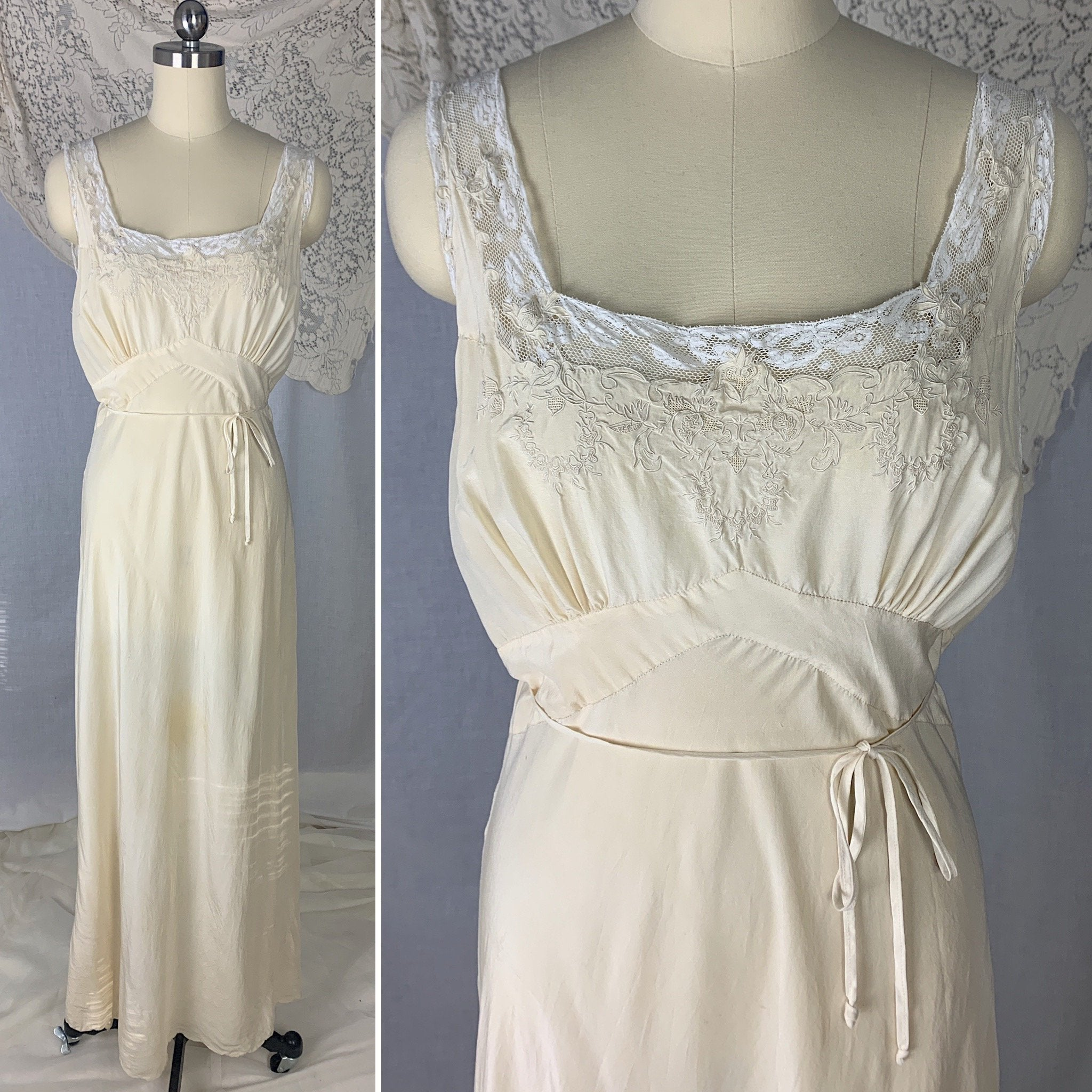 Vintage 1930's Nightgown | Buttermilk Silk with White lace & Floral Wreath Embroidery | Size S, M | Made in China - Daggers & Dames