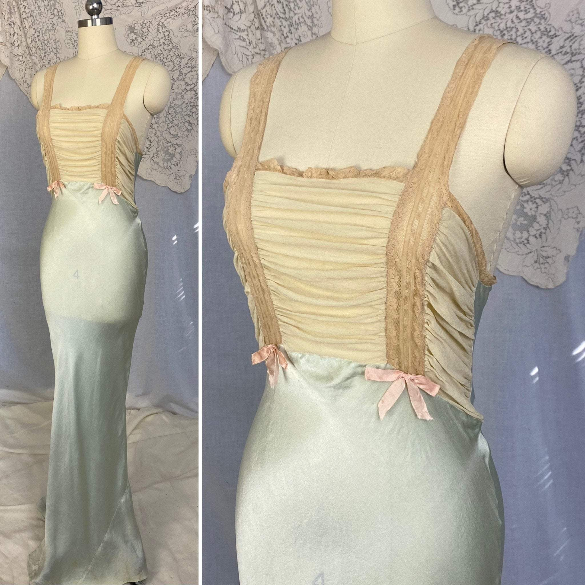 Vintage 1930's Nightgown | Seafoam Green Silk with Ivory Chiffon & Lace | Size 32-33.5 Bust, XS, S | Bullocks of Los Angeles - Daggers & Dames