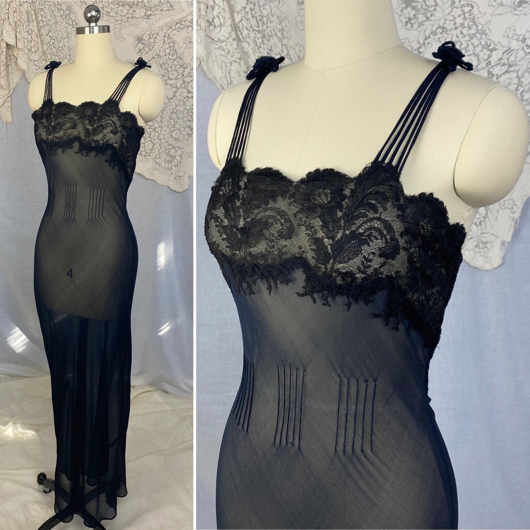 Vintage 1930's Nightgown | Sheer Black Silk Chiffon with Chantilly Lace & Crisscross Back | Size 36-38 Bust, M - Daggers & Dames