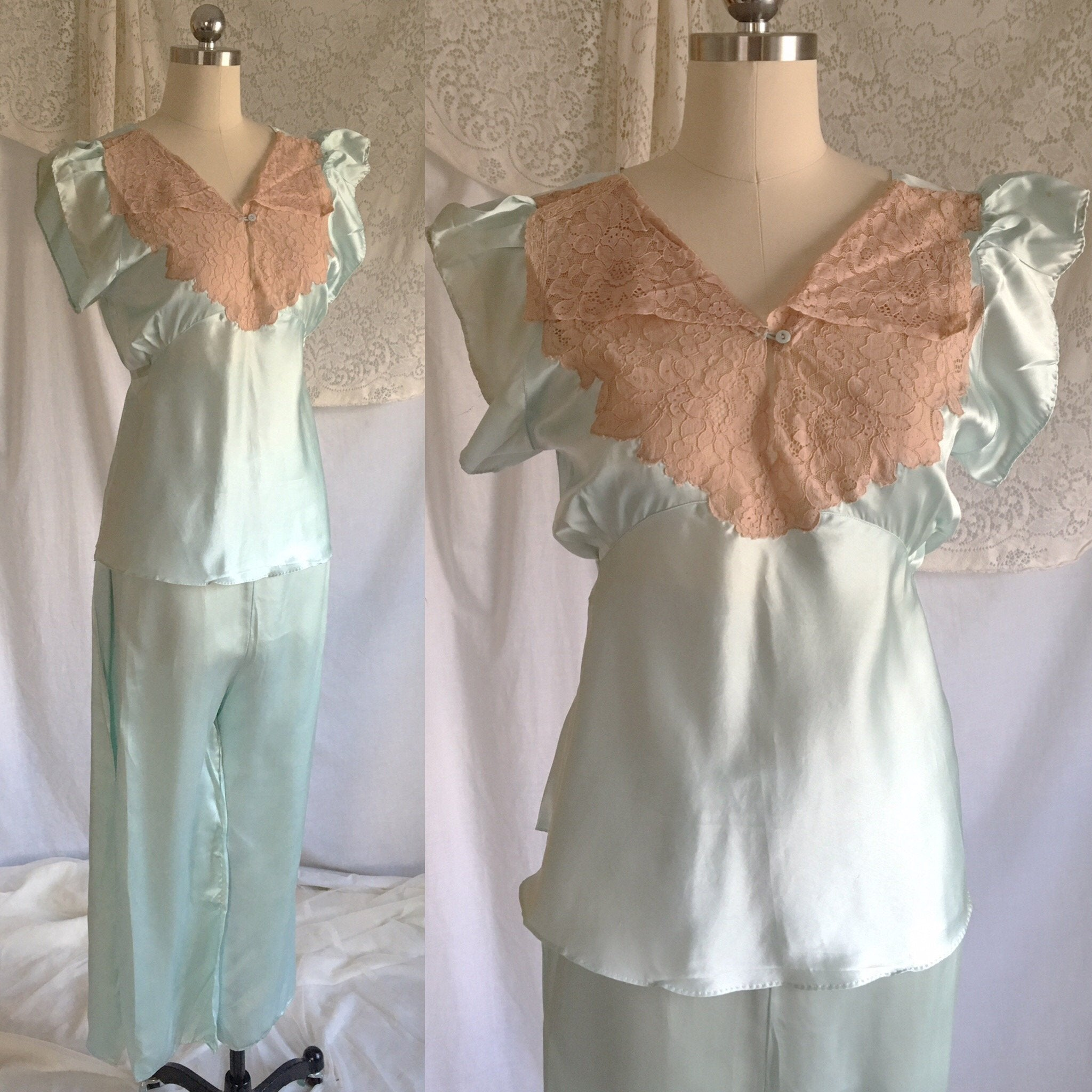 Vintage 1930's Pajama Set | Icy Teal Blue Silk with Alençon Lace | New with Tags | Size LG - Daggers & Dames