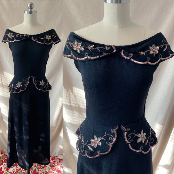 Vintage 1930's Peplum Midi Dress | Off Shoulder Black Rayon Crepe with Gold Soutache & Floral Sequins | Size 25 Waist, XXS/XS - Daggers & Dames