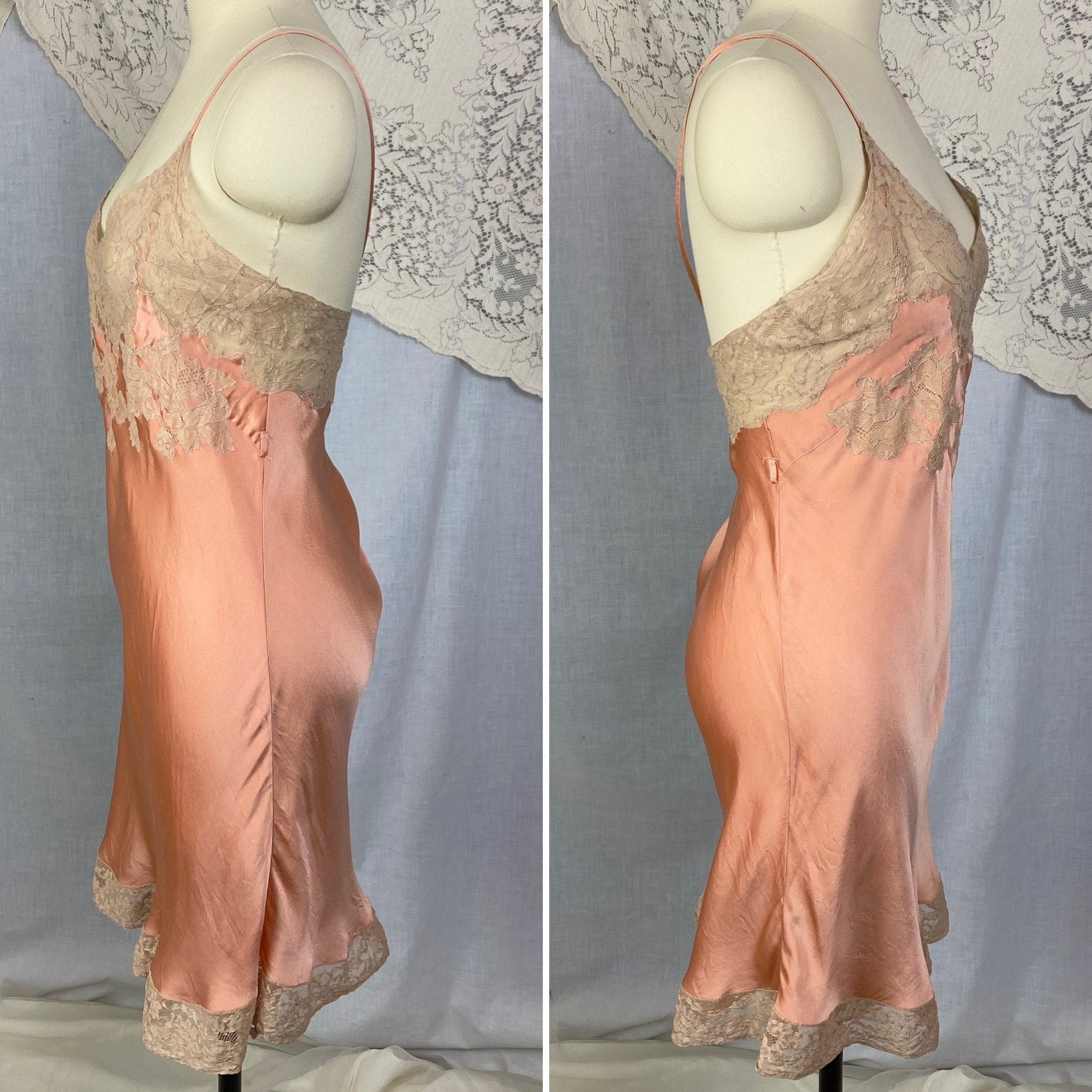 Vintage 1930's Teddy Chemise | Deep Coral Pink Silk Charmeuse with Nude Lace | Size 40-42 Bust, LG XL | Barbara Lee - Daggers & Dames