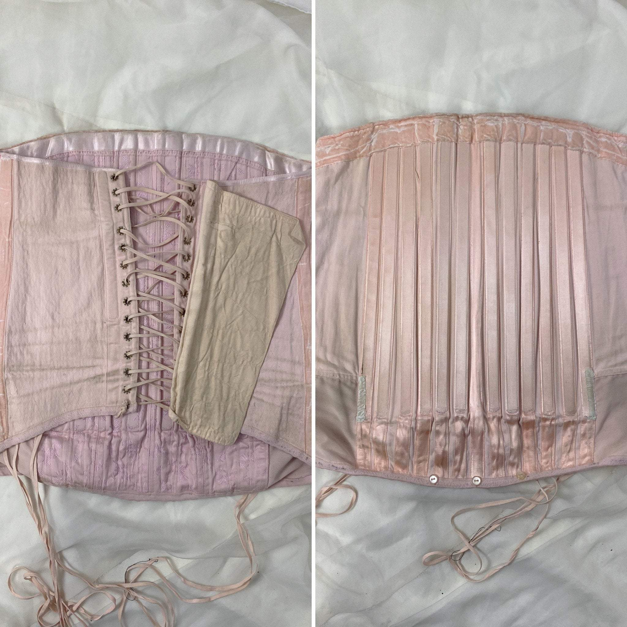 Vintage 1940's Corset Girdle | Light Pink Quilted Satin Damask with Lush Velvet Lining | Size LG, XLG | Made in France - Daggers & Dames