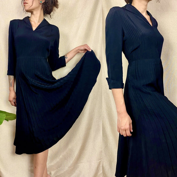 Vintage 1940's Dress | Inky Black Rayon with Pintucking | Size S | Ann Sutton - Daggers & Dames