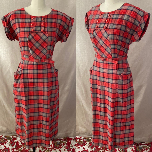 Vintage 1940's Dress | Red, Blue, & Taupe Plaid Lightweight Cotton with Belt | Size 36-38 Bust, M, LG - Daggers & Dames