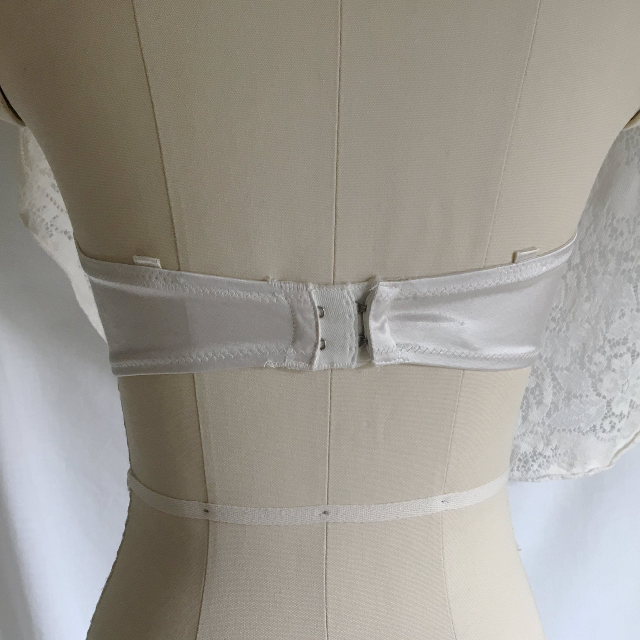 Vintage 1940's Monowire Bra | Sheer White Tulle Mesh with Ruffles & Satin | Lilly of France | Size 32 B, 32 C - Daggers & Dames