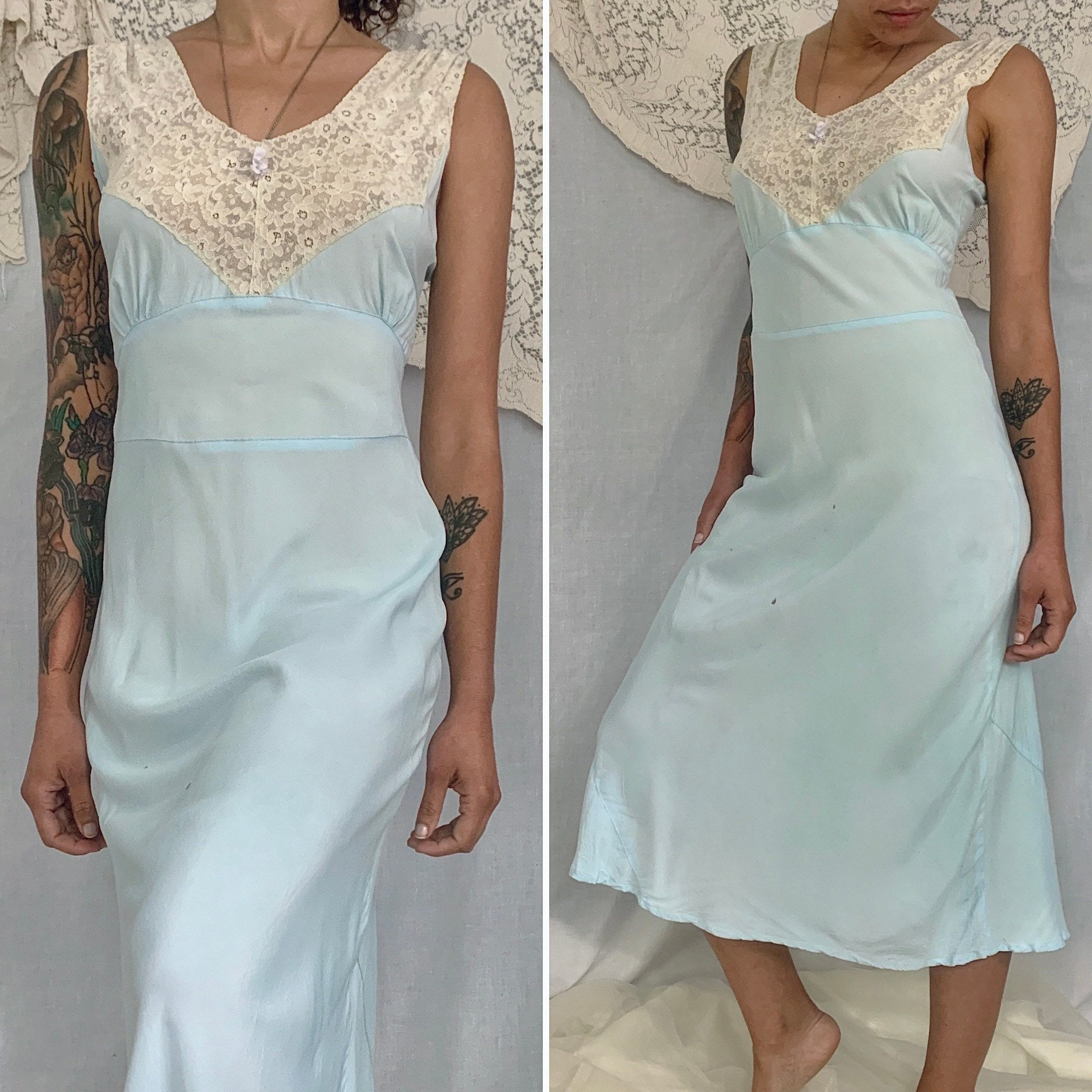 Vintage 1940's Nightgown | Baby Blue Rayon with Ivory Lace | Size S | Lady Edso - Daggers & Dames