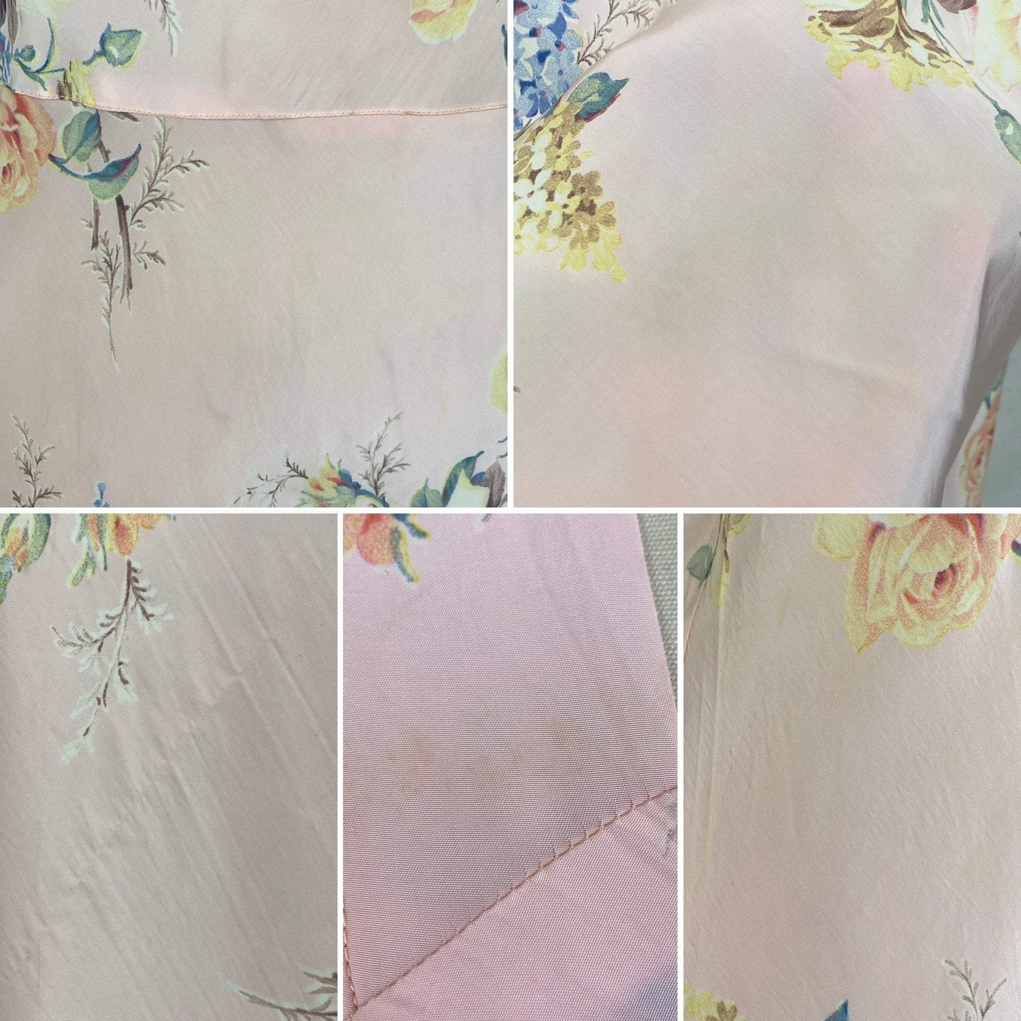 Vintage 1940's Nightgown | Baby Pink with Bold Floral Print | Size 34-36 Bust, S, M | Radcliffe -Never Worn - Daggers & Dames