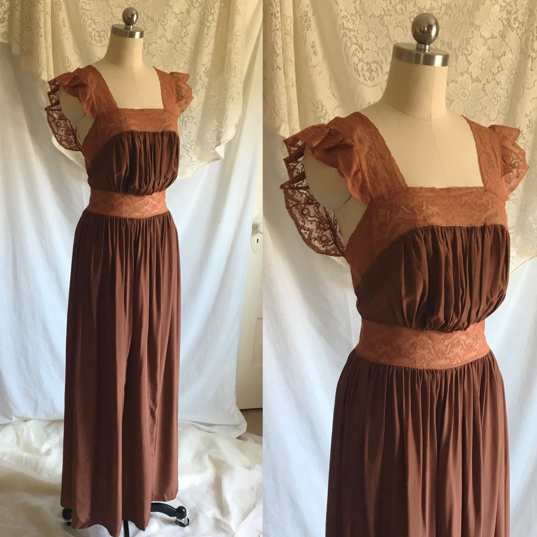 Vintage 1940's Nightgown | Brown Rayon with Bronze Sheen Finish & Chantilly Lace | Size XS - Daggers & Dames