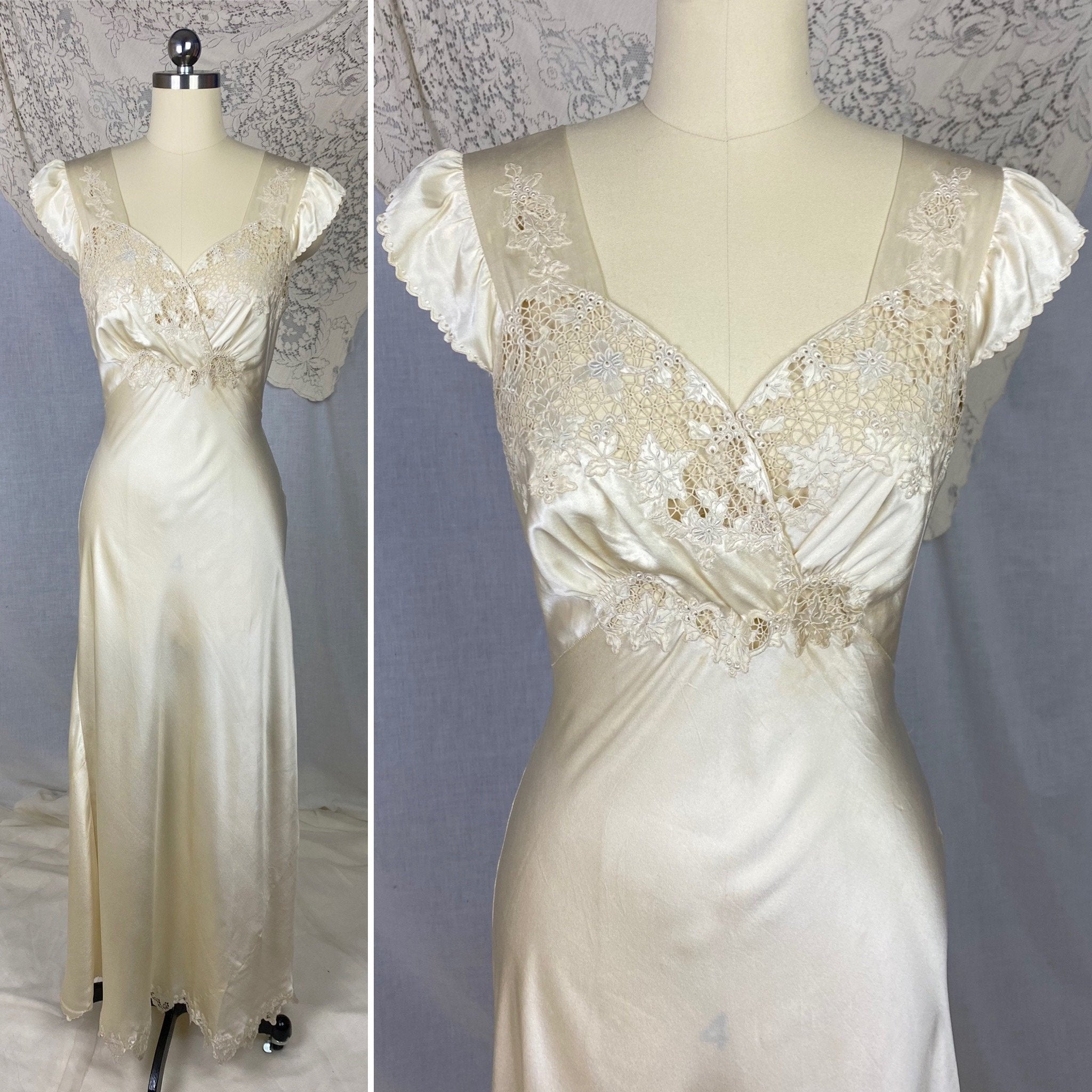 Vintage 1940's Nightgown | Hand Stitched Warm Ivory Silk Charmeuse with Floral Appliqué & Spiderweb Lace | Size 34-36 Bust, S | OOAK - Daggers & Dames