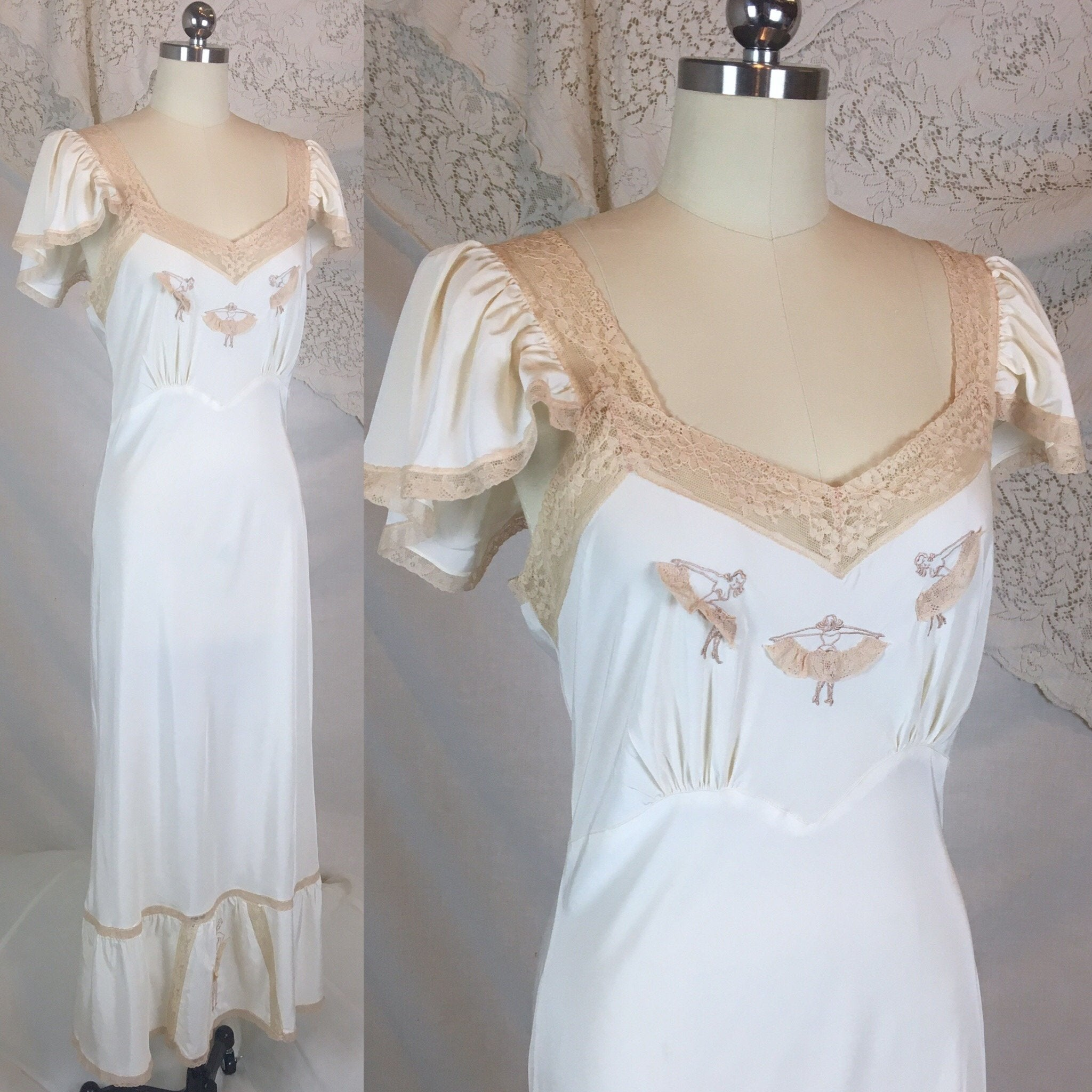 Vintage 1940's Nightgown | Ivory Acetate Blend with Ecru Lace & Burlesque Embroidery | Carillon -Never Worn | Size M, LG - Daggers & Dames