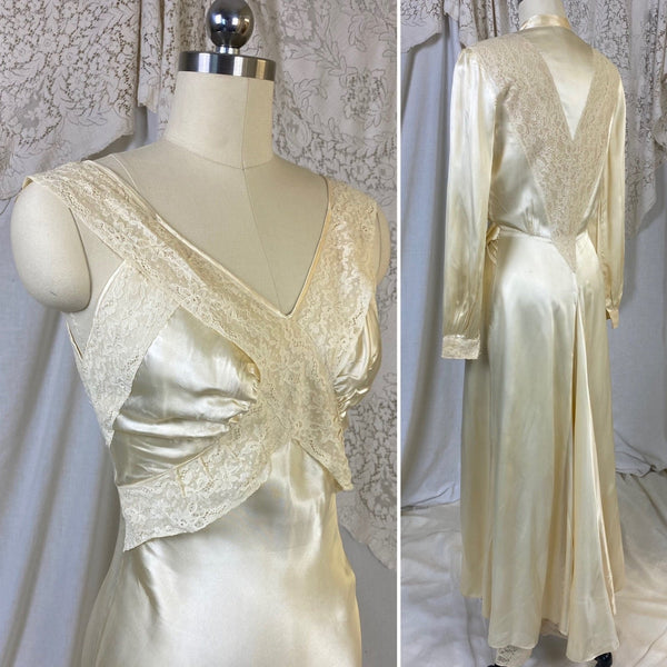 Vintage 1940's Nightgown & Peignoir Set | Champagne Rayon Satin with Sheer Lace Insets | Size XS - Daggers & Dames