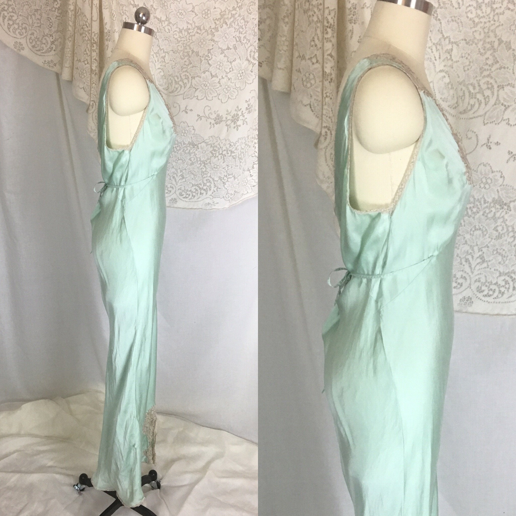 Vintage 1940's Nightgown | Seafoam Green Silk with Ivory Lace | Ro Jene | Size MED - Daggers & Dames