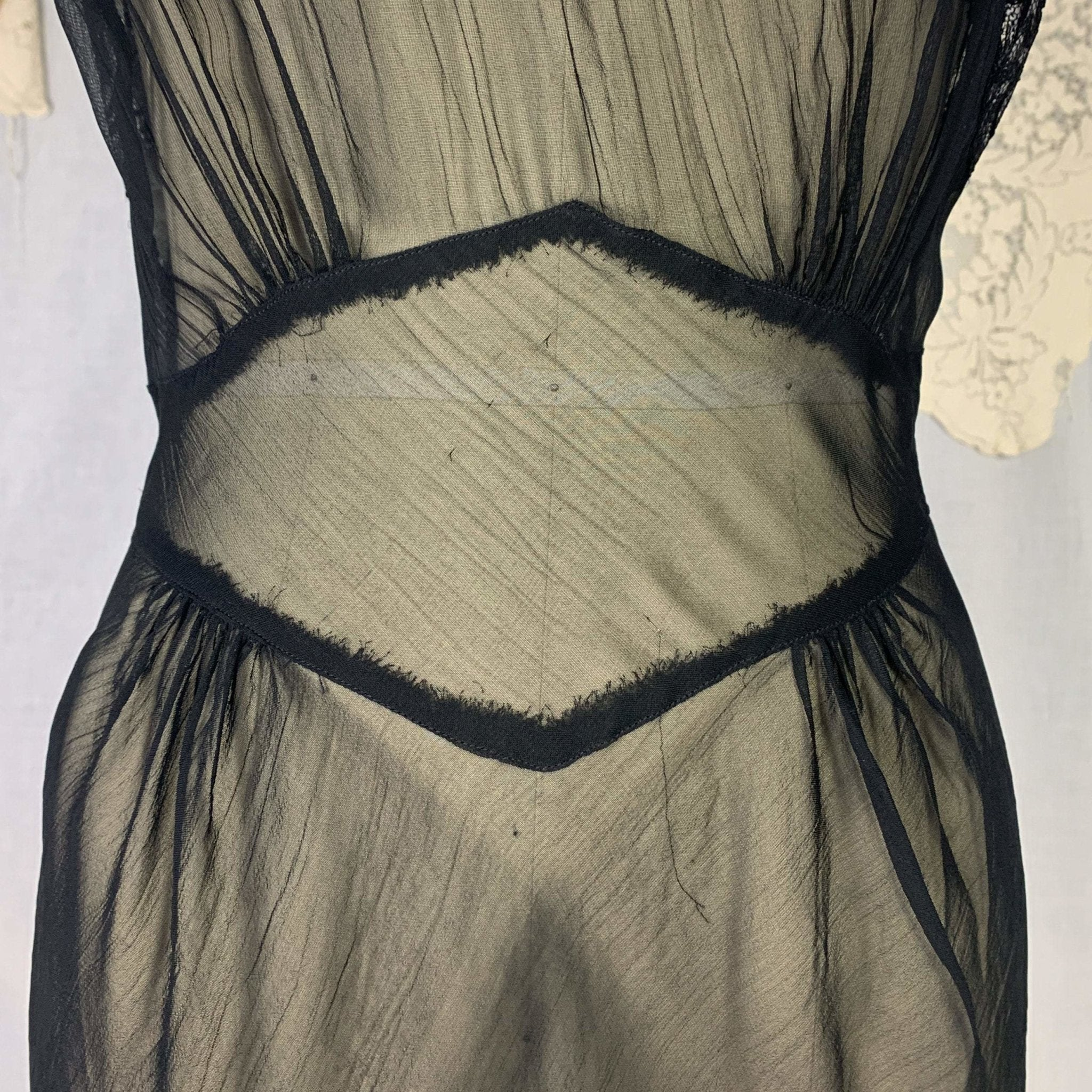 Vintage 1940's Nightgown | Sheer Black Rayon Chiffon with Icy Blue Ribbon & Lace | Size S | Never Worn - Daggers & Dames