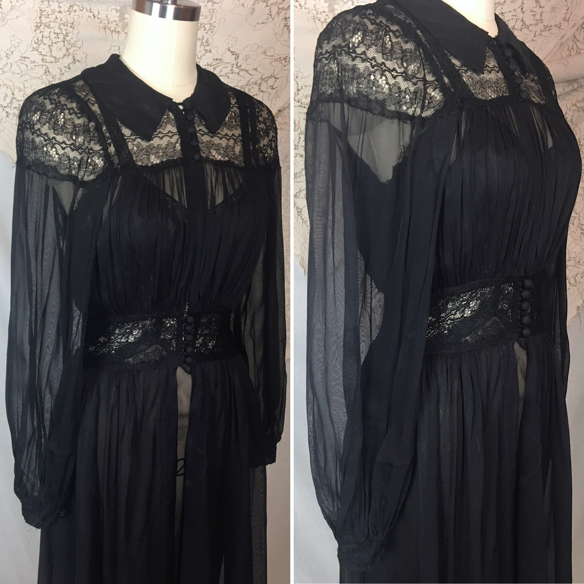 Vintage 1940's Peignoir Set | Sheer Black Rayon Chiffon with Chantilly Lace Nightgown & Robe | Size XS - Daggers & Dames