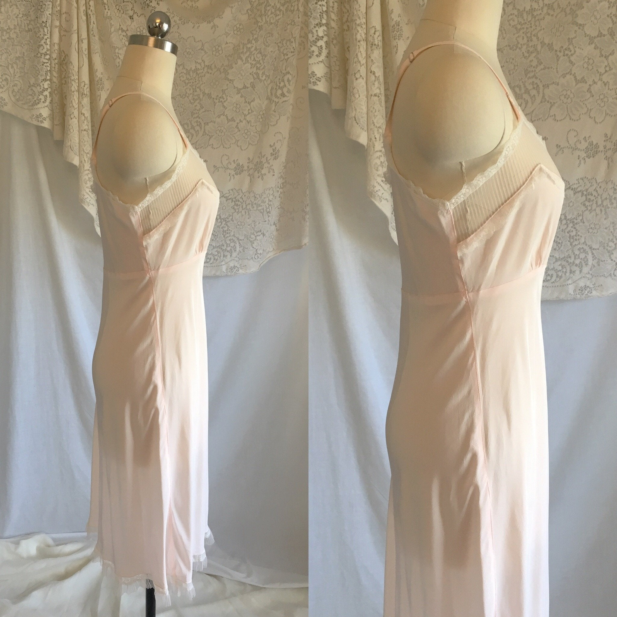 Vintage 1940's Slip | Light Powder Pink Rayon with White Pinstripe Tulle & Ruffled Lace | Lady Elizabeth Underwear | Size S - Daggers & Dames