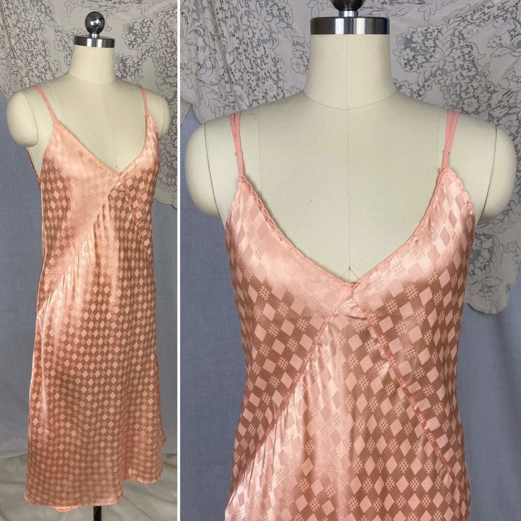 Vintage 1940's Slip | Rich Blush Pink Rayon Satin with Geometric Damask | Size M, LG | Never Worn - Daggers & Dames