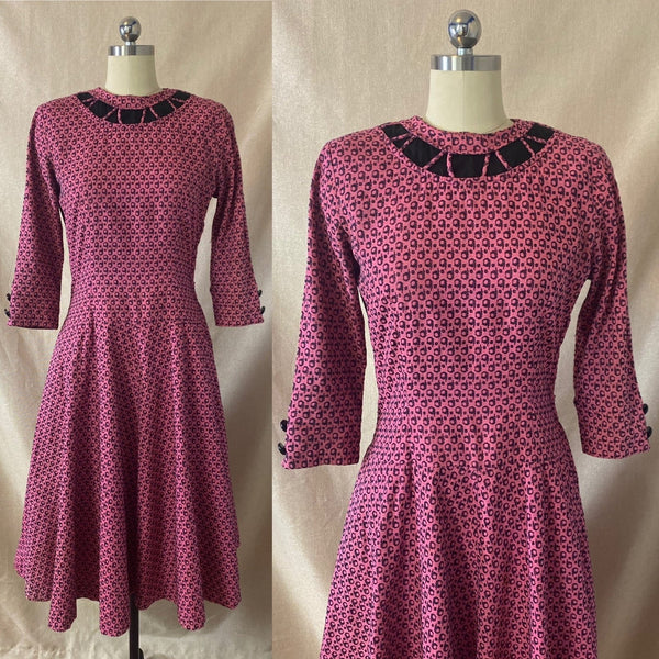 Vintage 1950's Full Swing Bowling Dress | Bubblegum Pink with Navy Blue Abstract Cotton Damask | Size 32-34 Bust, XS | Peg Hurley by Brunner - Daggers & Dames