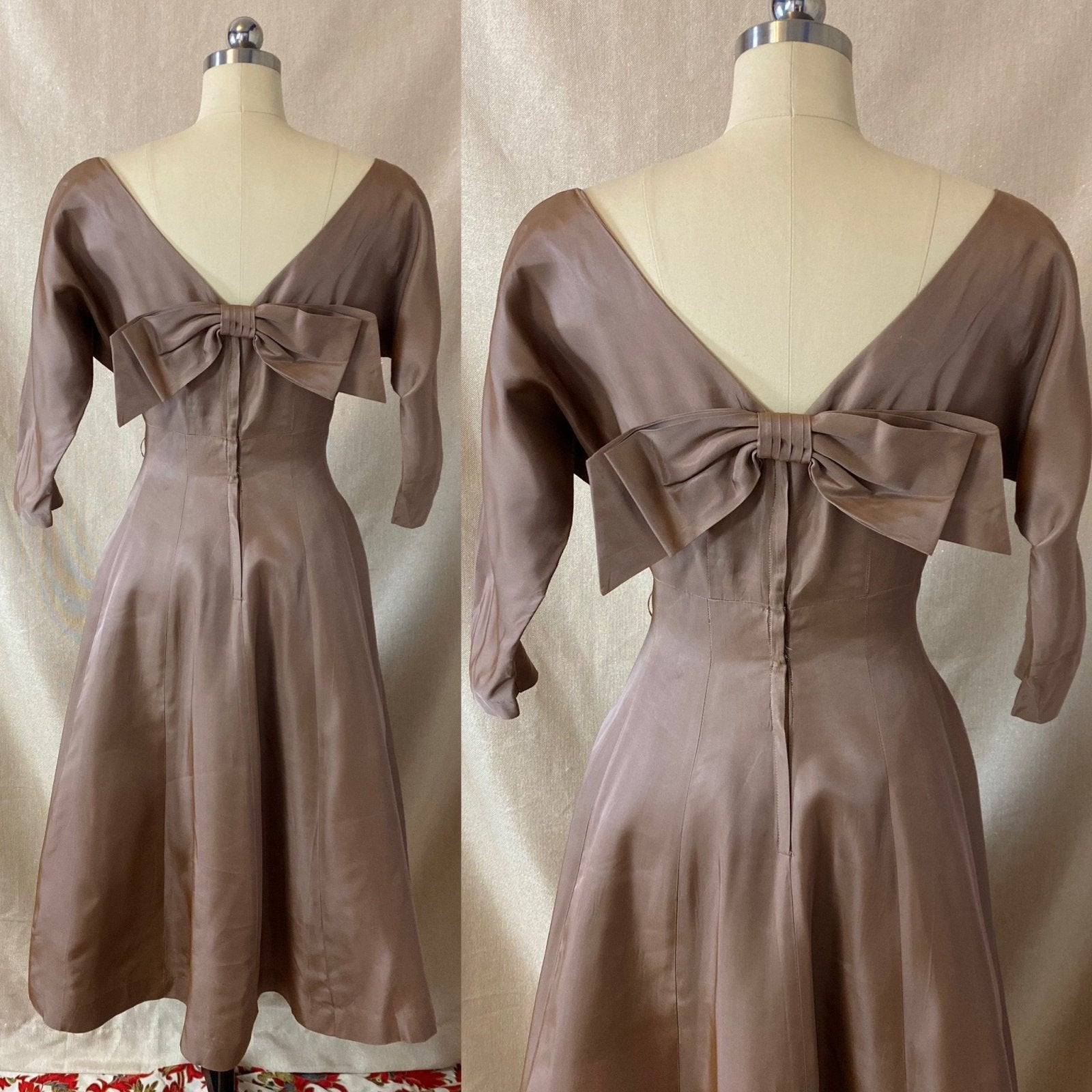 Vintage 1950's Full Swing Party Dress | Warm Taupe Taffeta with Large Bow & Portrait Neckline | Size 38 Bust, M/LG | Leslie Fay - Daggers & Dames