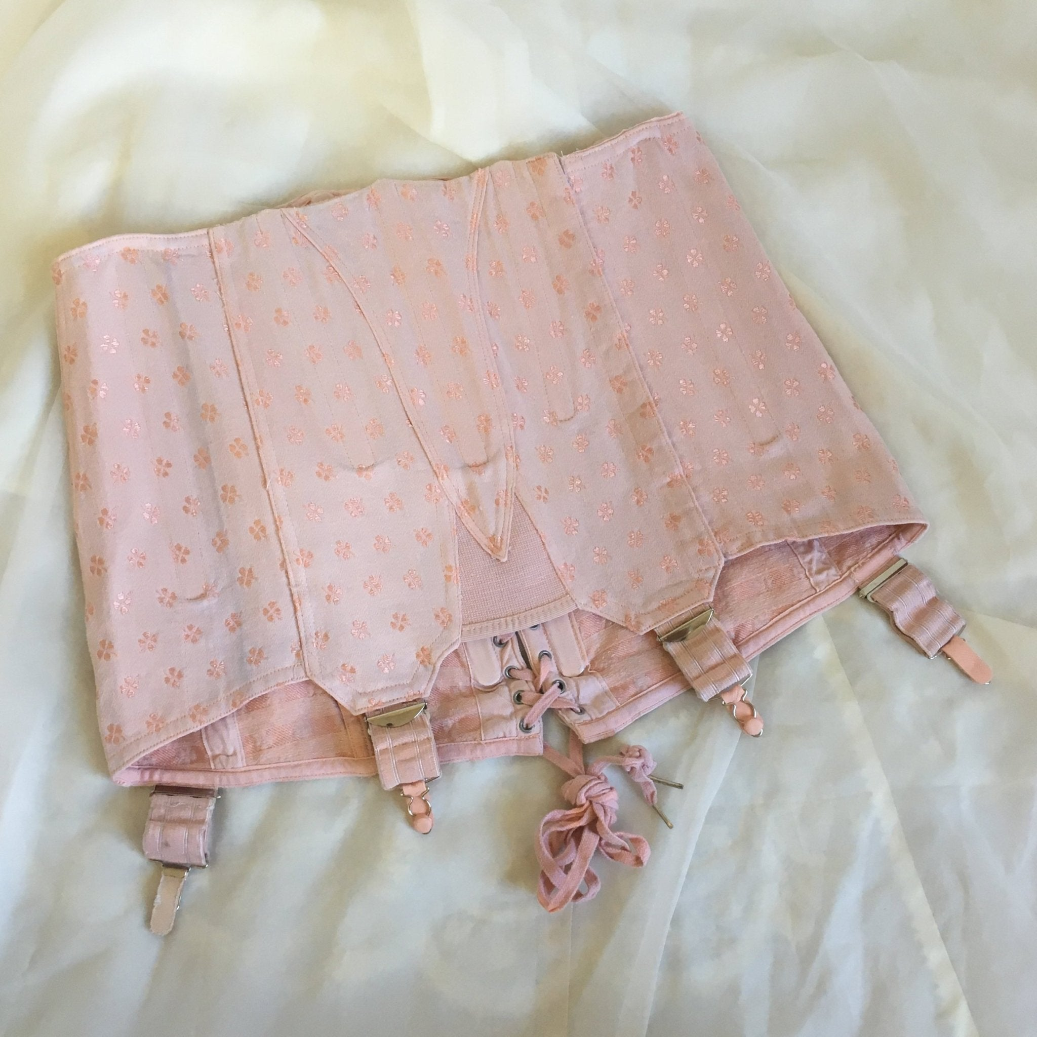 Vintage 1950's Girdle | Light Pink Cotton with Clover Satin Brocade | Brigette, Made in France | Size M, LG - Daggers & Dames
